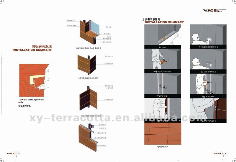 Foshan Terracotta Ventilated Wall Panel With Cladding Fixing System Fastening Clamp