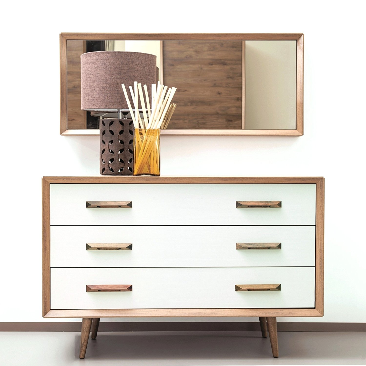 Adam and Illy ALT0267 Alto Chest of Drawers W/Mirror, Sherwood Oak/Moonstone