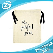 Printed Logo Small Size Ribbon String or Cotton String small fabric drawstring bags