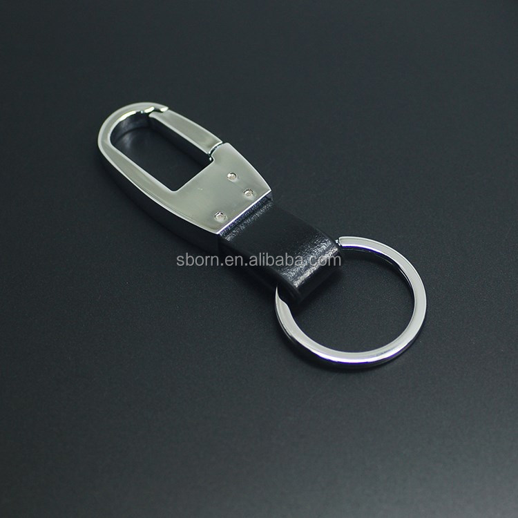 high quality popular shiny metal black leather keychain Wholesale