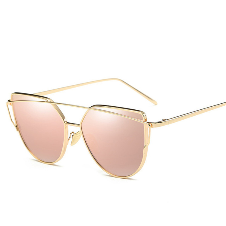 Fashion Brand Women Cat Eye Sunglasses 2018 For Female Vintage Gold Mirror Sun Glasses