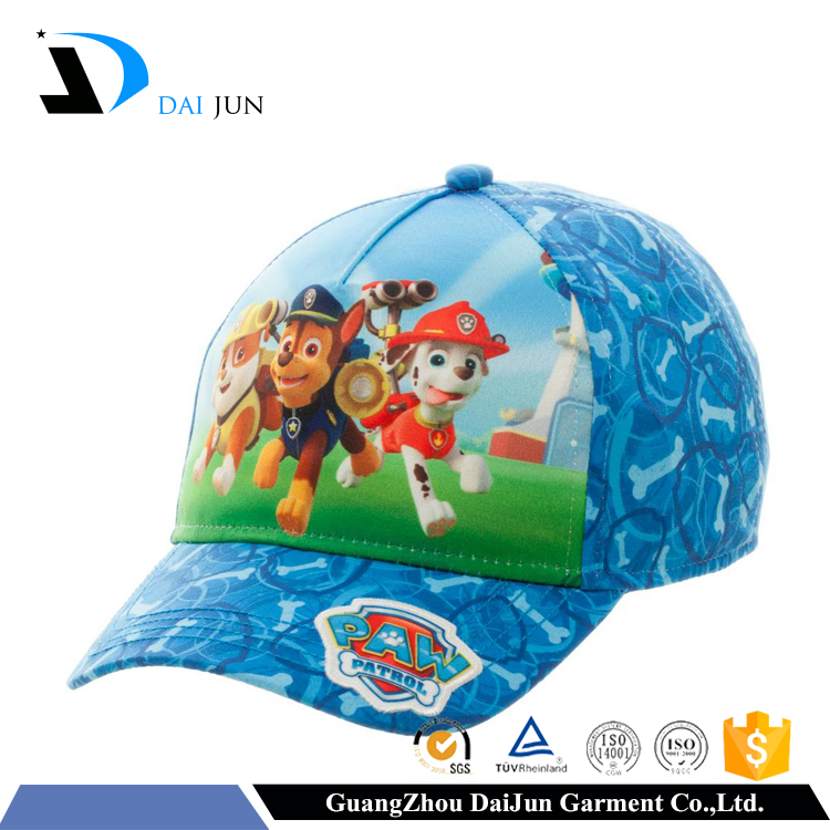 Guangzhou daijun OEM high quality prining logo cotton baseball kids caps