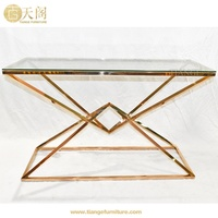 European Modern Furniture Gold Copper Metal Eichholtz Connor Console Table