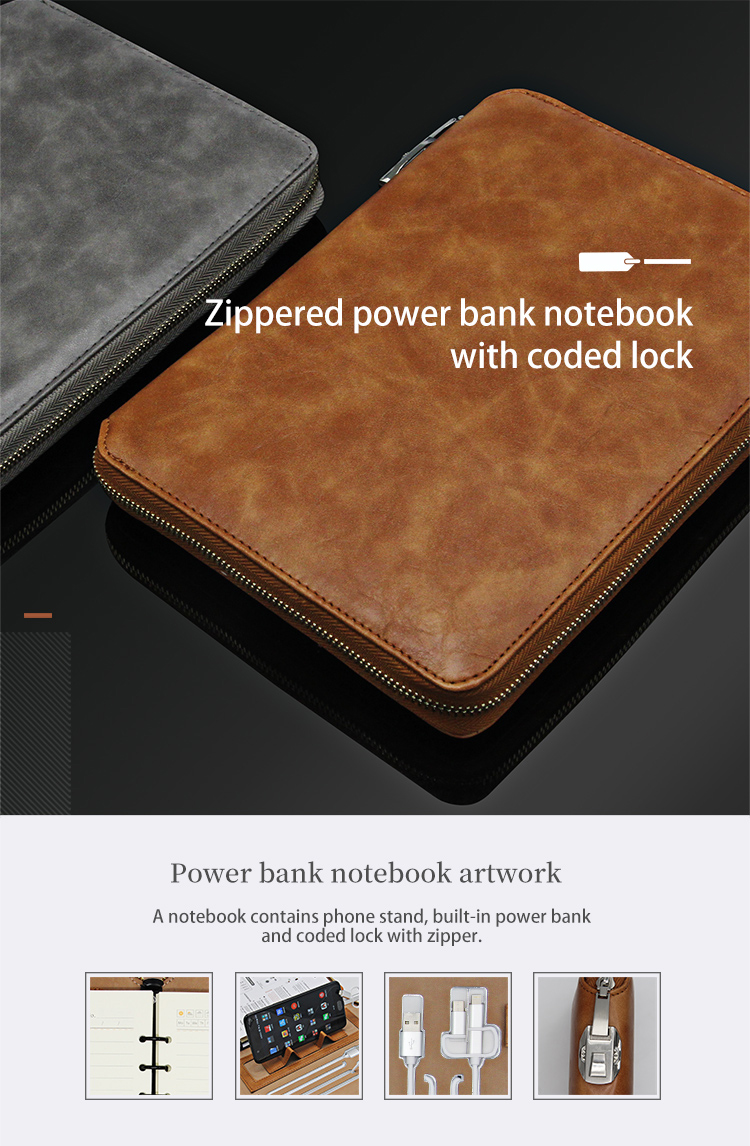 Kundenlogo Multifunktionale Agenda mit Power Bank