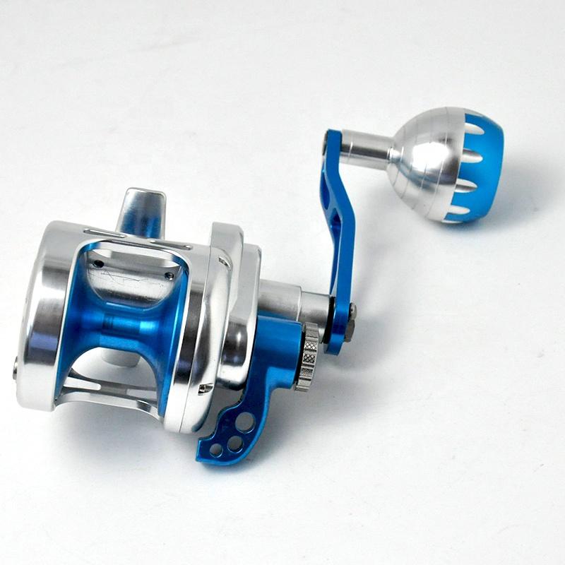 Saltwater Trolling Reel Aluminum CNC Max Drag 25-30kg Machined Right Fishing Reel Jigging Reel, Gold