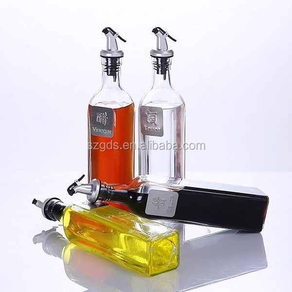 Set Of 2 Oil Vinegar Cruet Square Shape Tall Glass Oil Bottle Stainless Steel Pourer Spout Oil And Vinegar Cruet Sets Buy Oil Vinegar Cruet Oil And Vinegar Cruet Sets Oil Vinegar Bottle Product