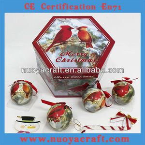 2013 new design christmas ornaments ball printed christmas bird