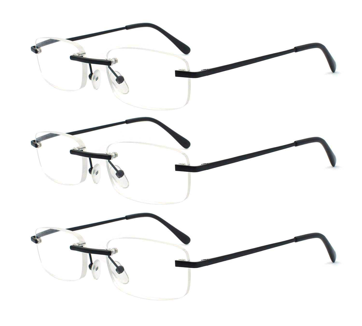 744da66e1b Get Quotations · EYE ZOOM 3 Pack Metal Frame Classic Rectangle Rimless  Reading Glasses with Spring Hinge for Men