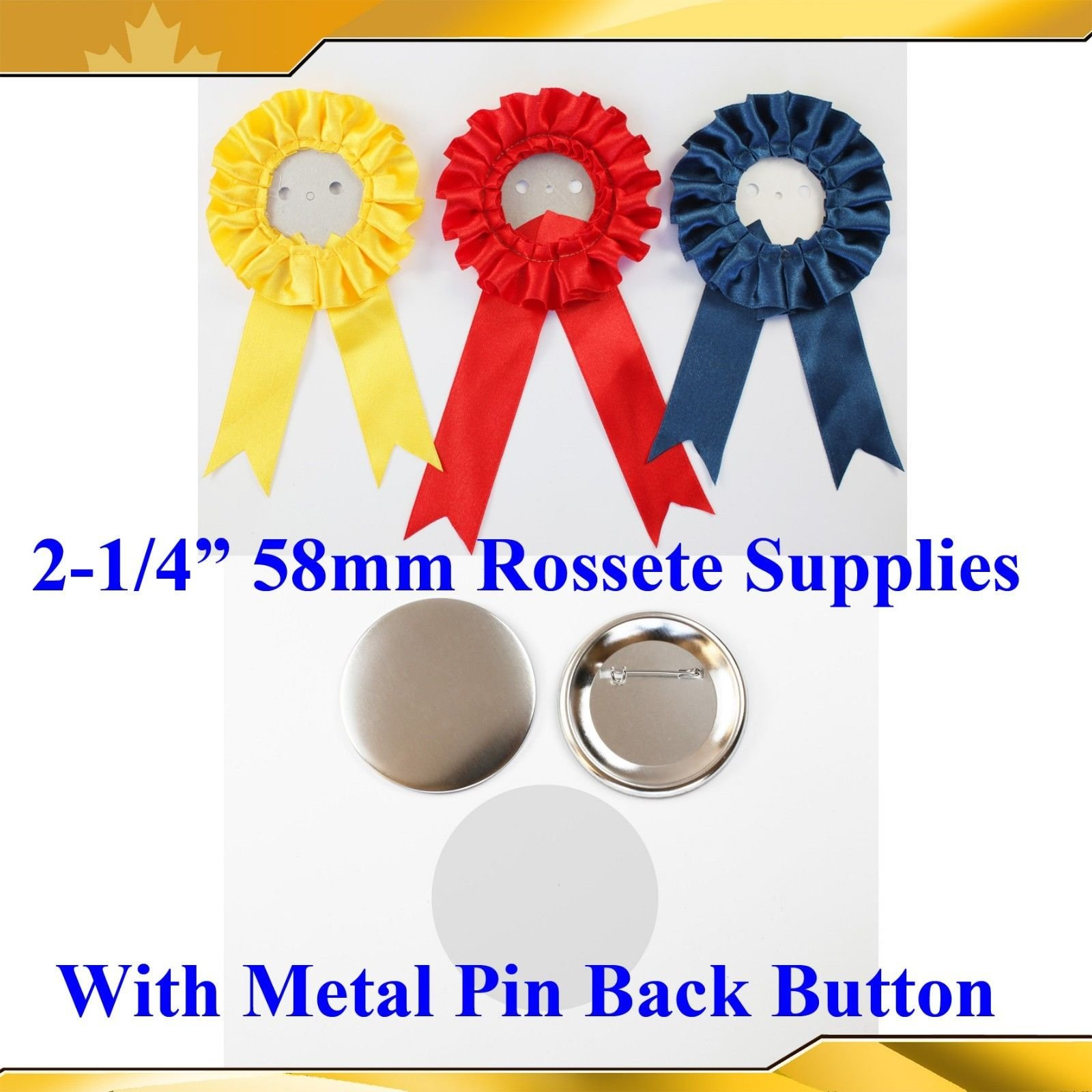 "100sets 2-1/4"" 58mm Complete Rosette with Metal Pin Badge Button Supplies Maker"