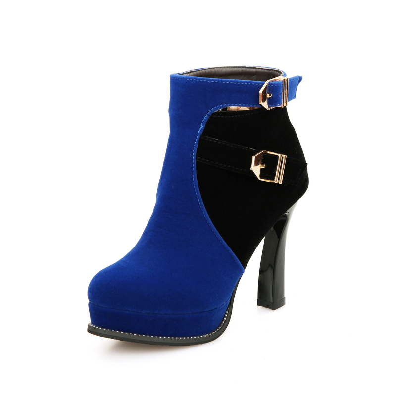 YX10T040 2017 Brand new platform high heel buckle ladies chelsea boots