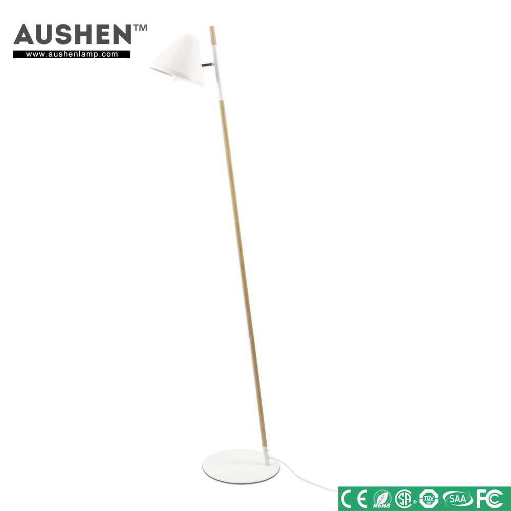 Hot Indoor Decorative White Wooden Arm Marble Base floor lamps for living room
