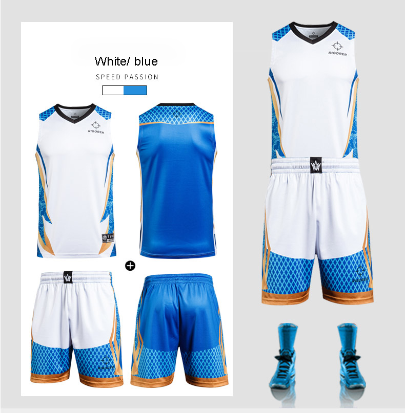 Hot Sale New Special Design Jersey Sets Sport Basketball Jersey Uniform Design Color Blue with Custom the Print