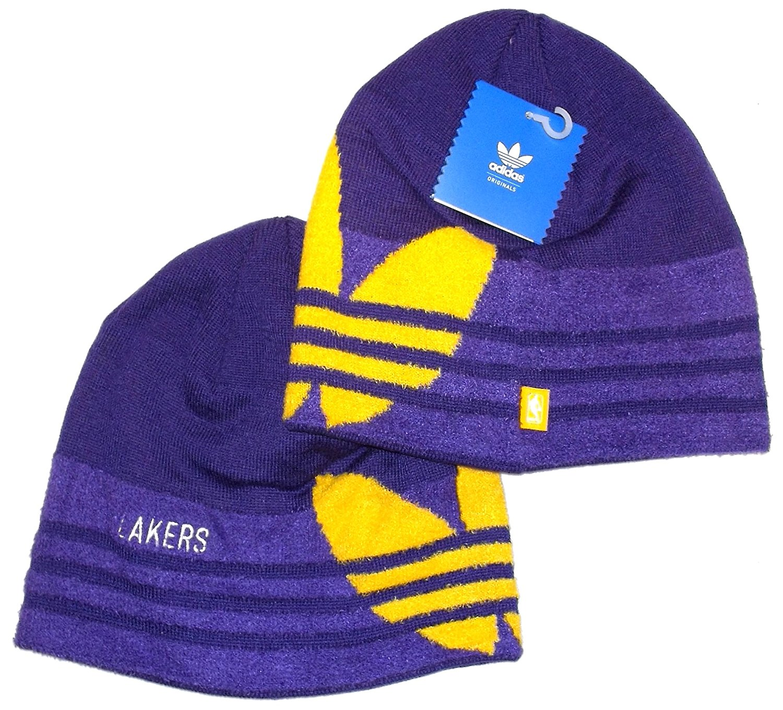 98ef7c57a65 Get Quotations · Los Angeles Lakers NBA Trefoil Purple Knit Beanie Hat