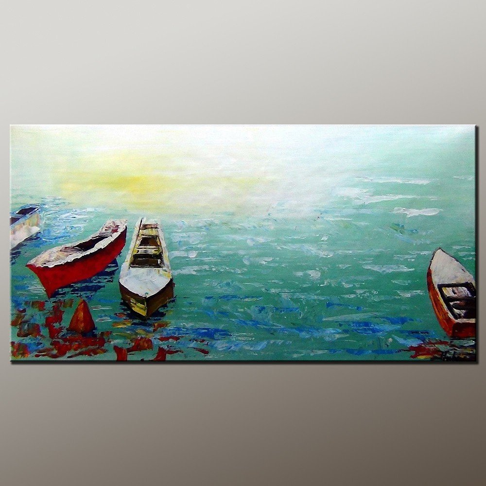 Original Painting Oil Painting Boat Painting Contemporary Artwork Modern Art Canvas Art Impasto Texture Palette Knife Oil Painting Impressionism Wall Art Canvas Painting