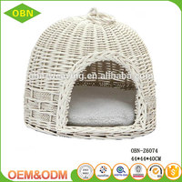 Wholesale small animals use woven wicker pet cages indoor cat house with mattress