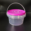 Food grade transparent ice cream pail plastic buckets with lids wholesale