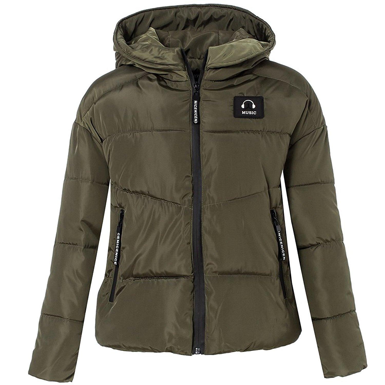 ZXFHZS Mens Velvet Faux-Fur Collar Hooded Thick Parka Down Jacket Coat