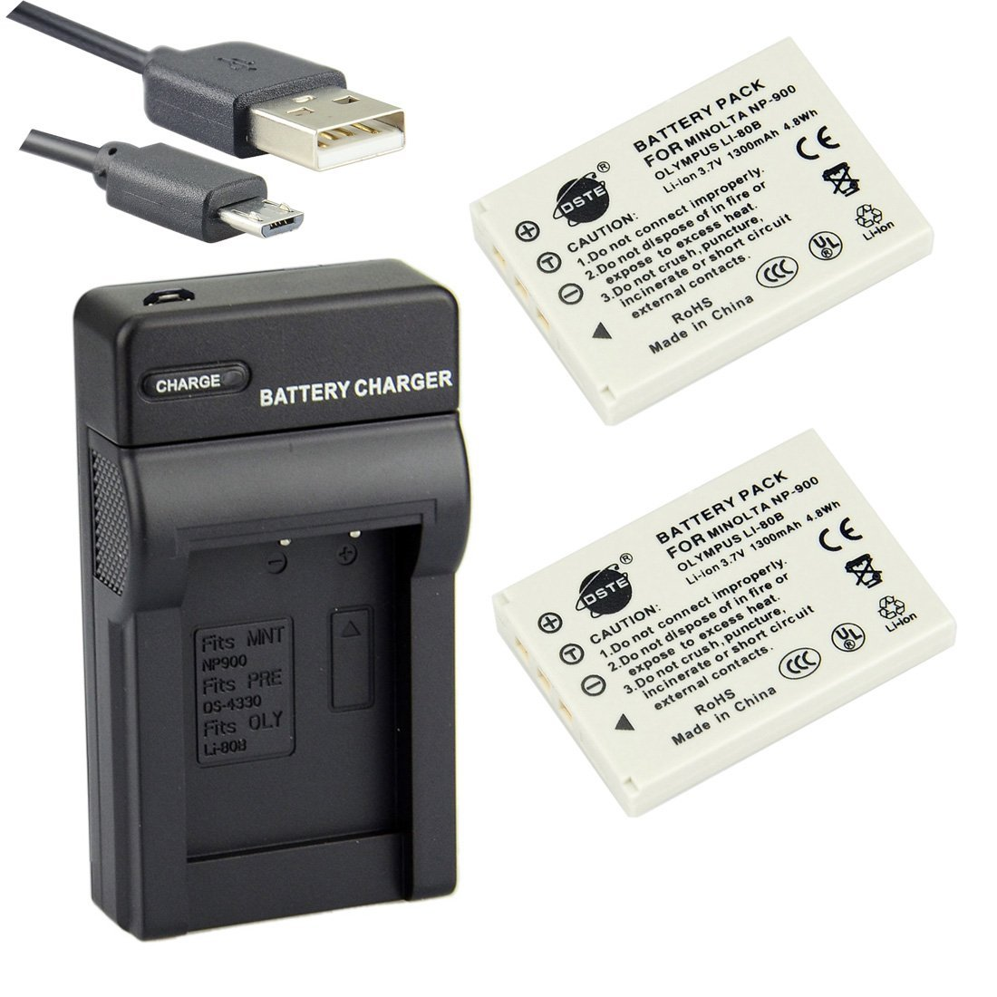 DSTE Li-80B Li-ion Battery (2-Pack) and Micro USB Charger Suit for Olympus T-100,T-110,X-36