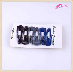 Women hair necessary metal snap tick tack clip accessory with burnshed printing