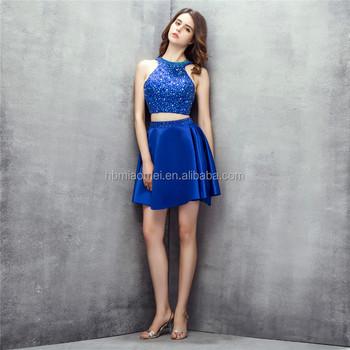 Sin Mangas Corto Diseños De Dama De Honor Vestido 2 Unids Conjunto Vestido De Color Azul Convertible De Dama De Honor Vestido Con Pesadas Rebordear