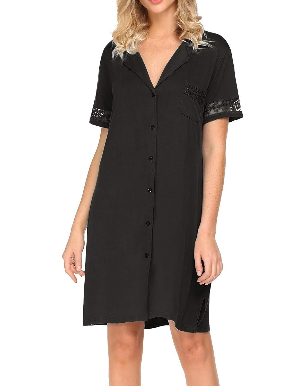 040a836b6ed9b Get Quotations · Hotouch Women s Sleep Shirt Short Sleeve Button Down  Pajama Shirt Dress Modal Lace Night Shirt