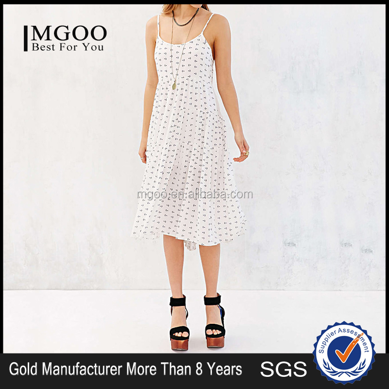 MGOO New Fast Selling Brand Design Women Casual Chiffon Dree Sweet Dree With Dots White Summer Beach Dress D898