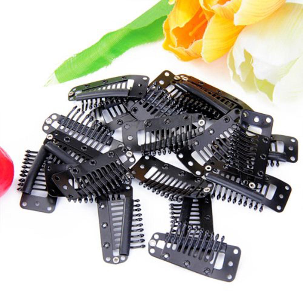 Abwe! 20st черные зубы оснастки гребень парик клипы с резиновых спиной