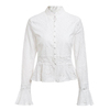 Vintage Embroidered Hollow Out Wome N Blouse Shirt Stand Collar Cotton Blouses
