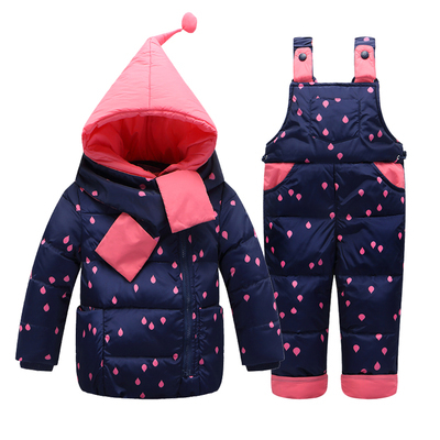 Children Boys Girls Winter Warm Down Jacket Suit Set Thick Coat Jumpsuit Baby Clothes Set Kids