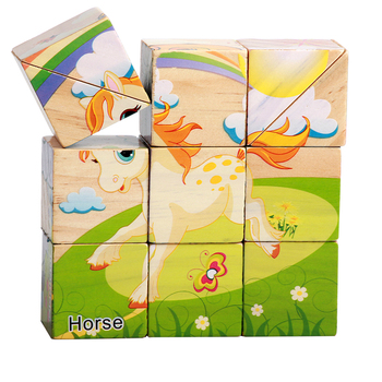 Factory Supply Handmade Painting wooden toy game building blocks Six-sided 3D puzzle
