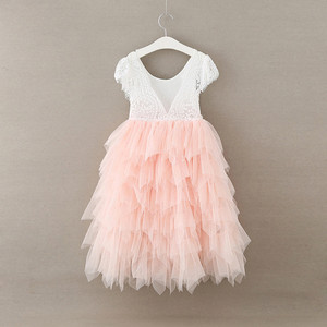 New fashion flower girls dresses sleeveless soft tulle baby girl toddler western european ball gown birthday wedding party dress