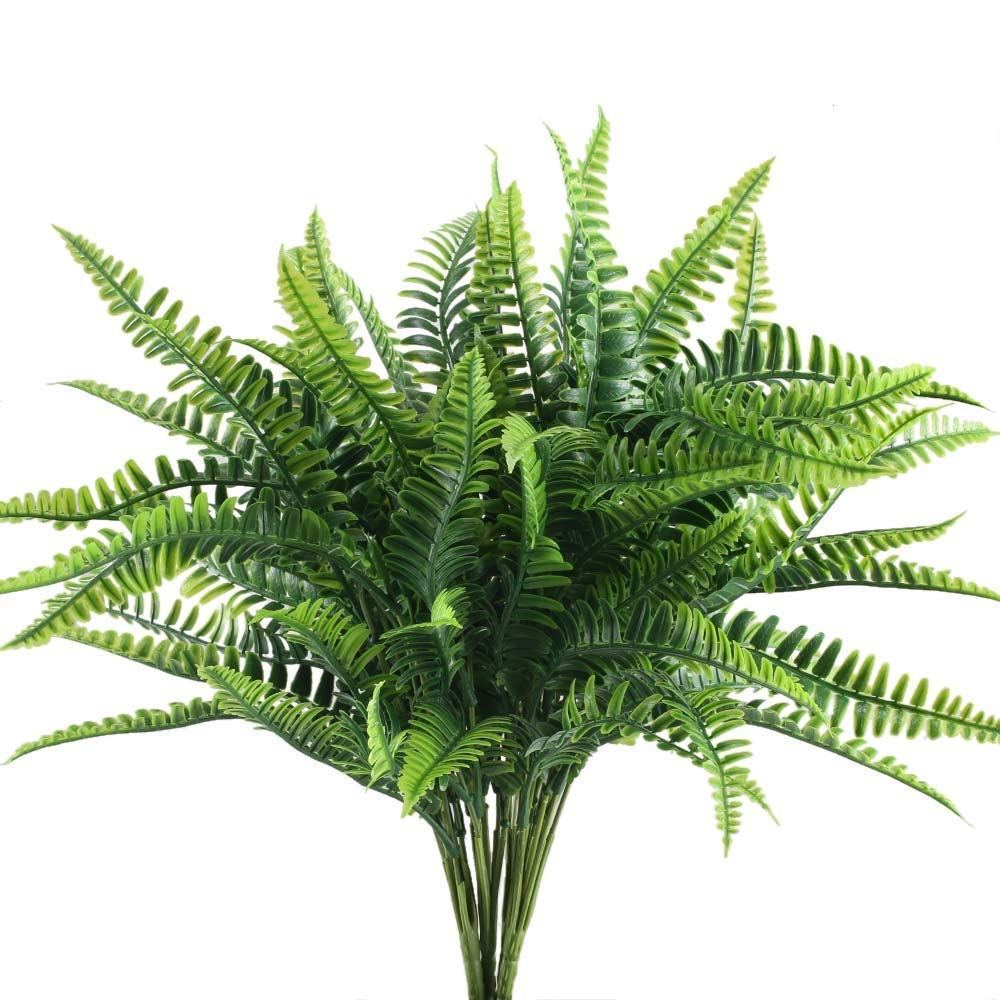 Get Quotations Nahuaa 4pcs Artificial Boston Fern Plants Fake Evergreen Shrubs Faux Plastic Greenery Bushes Bundles Indoor Outdoor