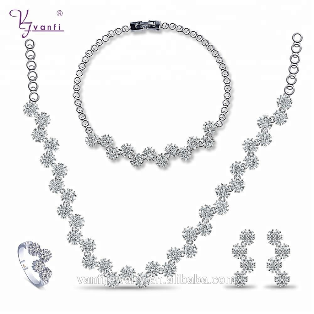 Vanfi charming simple luxury wedding rhodium plated jewelry set