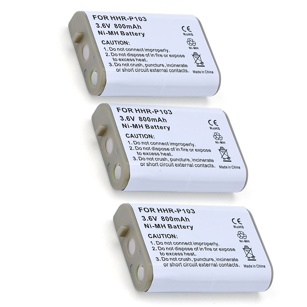 ATC 3Pack Rechargeable Cordless Phone Batteries for Panasonic HHR-P103 HHR-P103A 3.6V 800mAh Replacement Cordless Telephone Battery