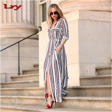 Sexy Summer Chiffon Women Dress Side Split Slim Belted Office Work Formal Dress Black and White Striped Long Sleeve Maxi Dress