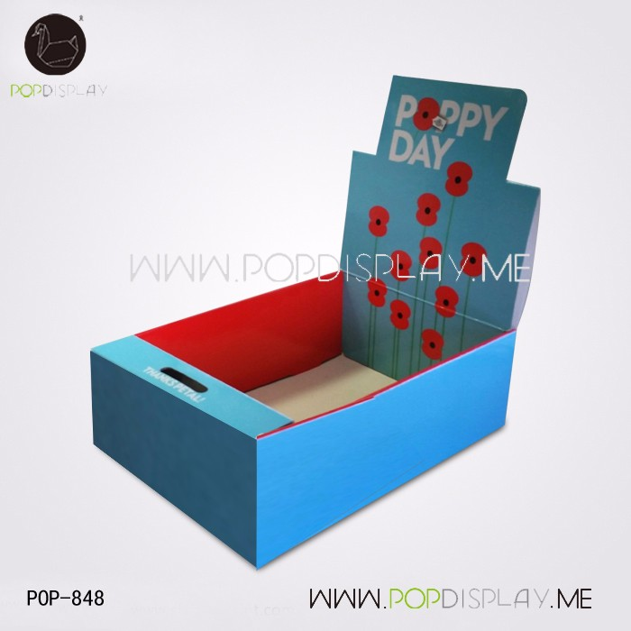 Easy Assembled Advertising Pos Pop Paper Folding Small Cardboard Counter Display