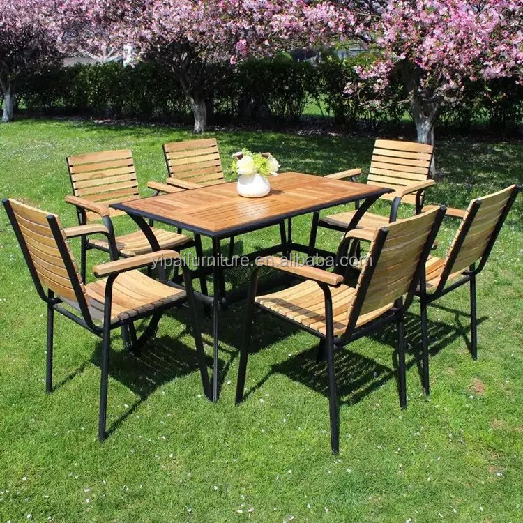 5 PCS outdoor garden furniture/aluminum wooden dining cafe table and chair set series