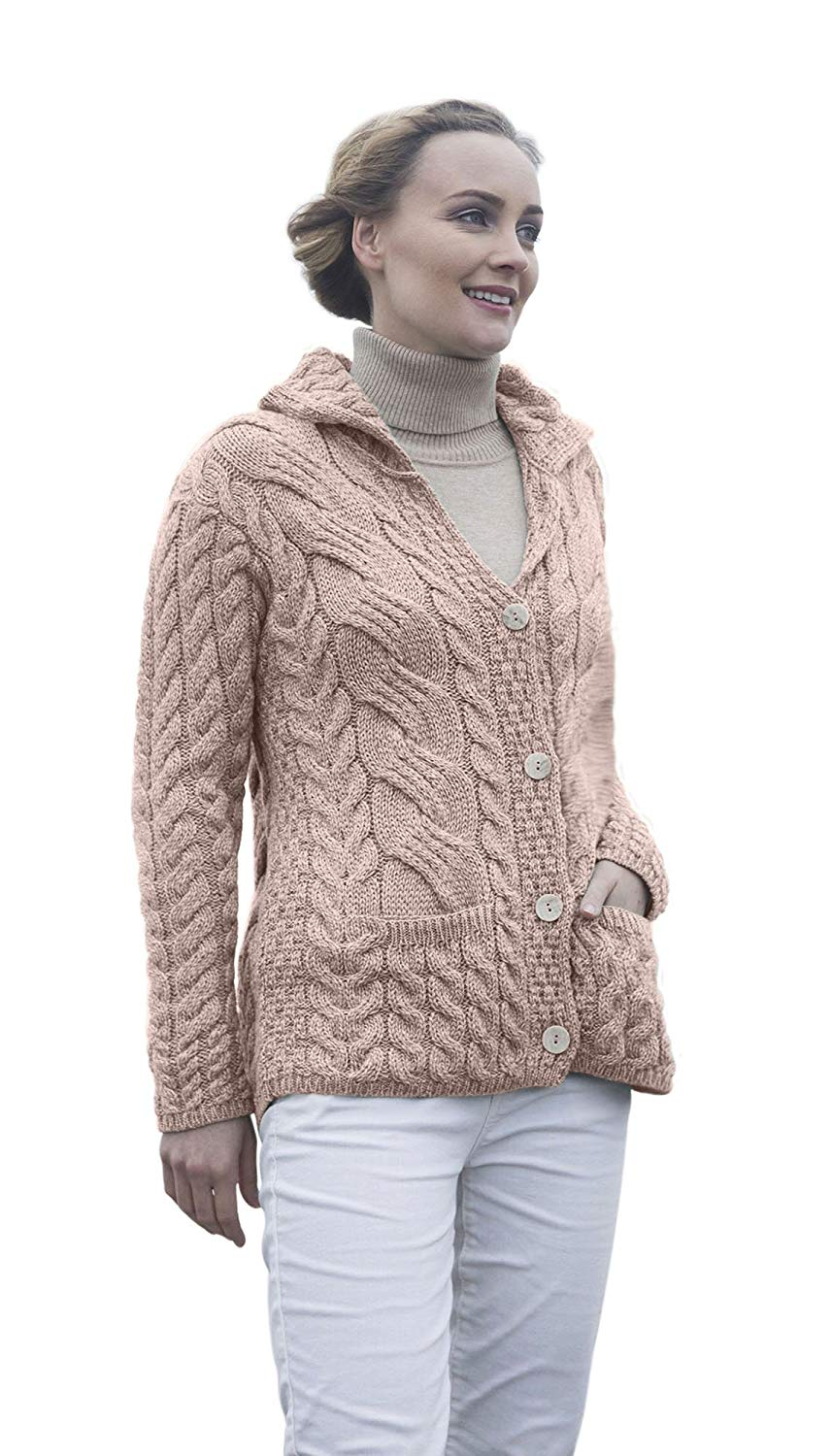 8ad5efc481ebba Get Quotations · Ladies Irish Buttoned Cable Knit Super Soft Merino Wool  Cardigan