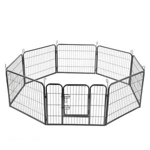 High 8 Panels Pet Playpen Dog Pets Fence Exercise Pen Gate with Door