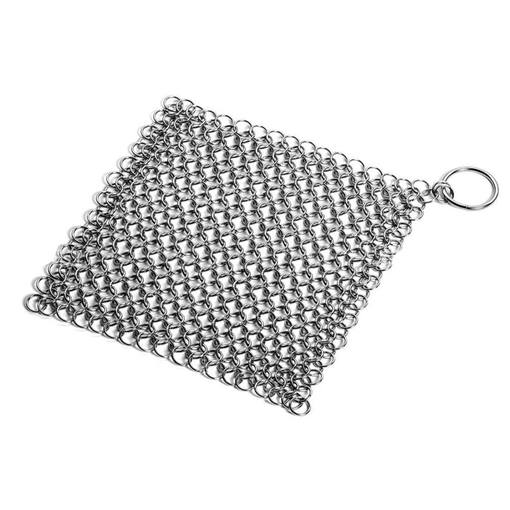 Cast Iron Cleaner, Stainless Steel Chainmail Scrubber for Cast Iron Pan Pre-Seasoned Pan Dutch Ovens Waffle Iron Pans Scraper Cast Iron Cleaner Kit Grill Scraper Skillet Scraper (8x6 inch Square)
