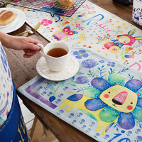 colorful flower Placemat Dining Tables Mats Bar Mat waterproof kitchen accessories dining table mat bowl pad Table Decoration