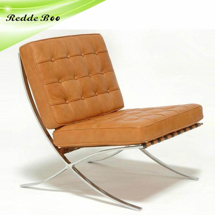 Cuero blanco Silla de Barcelona y otomana silla de diseño sf2802 ...