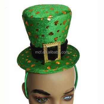 Partido Verde sombrero irlandés del día de St Patrick decoración recuerdo  trébol ... dea1a3f4463