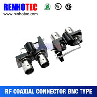bnc jack female connector, 75ohm bnc adapter, R/A two bcn in one row