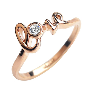 Love Letter wedding Rings for women with Crystal Rose Gold color Crystals Rings
