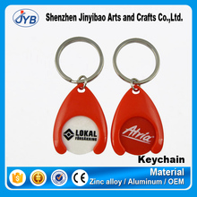 high quality cheap wholesale trolley token keyring custom plastic coin holder keychain