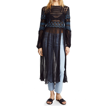 Women Summer  Custom Black Sheer Rayon Long Sleeve Chiffon Tunic Tops