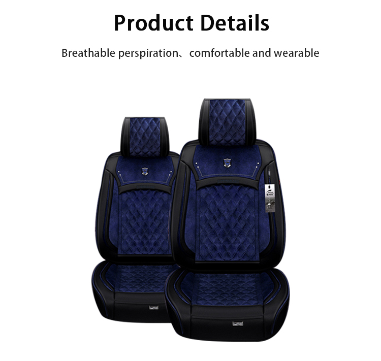 ZT-B-038 Black and blue premium custom fitted heated car seat covers online