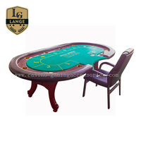 10 Seat Solid Wood Folding Casino Texas Hold'em Poker Table With Chairs
