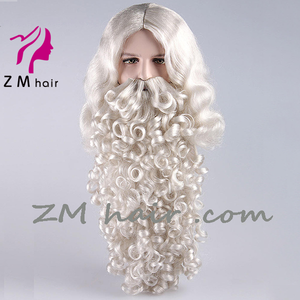 wholesale fake synthetic hair santa claus wig and beard set best value